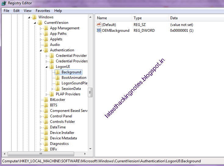 registry editor in windows 7