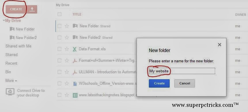 Creating a folder in google drive