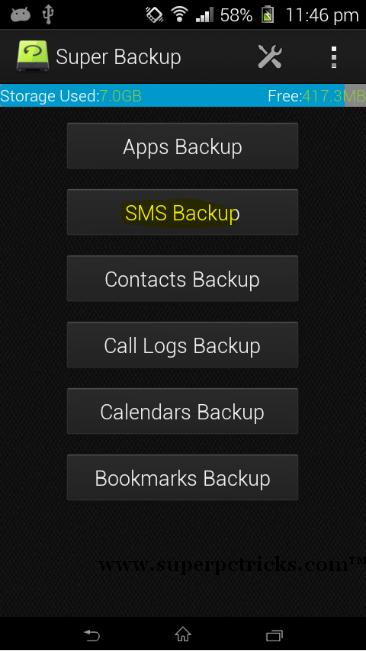 contacts backup in android