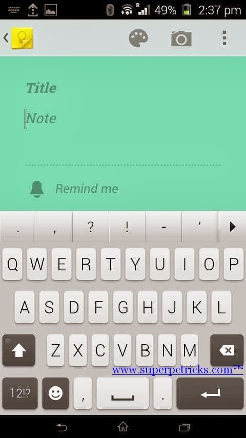 Google Keep Android -adding note