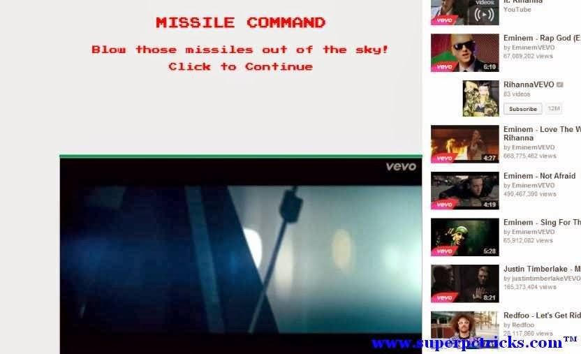 Play 'Missile Command' Game on Youtube