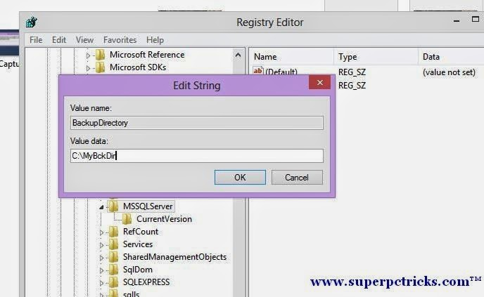 creating BackupDirectory value in Registry-Property BackupDirectory is not available for Settings