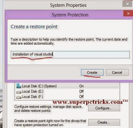 creating restore point in windows 7