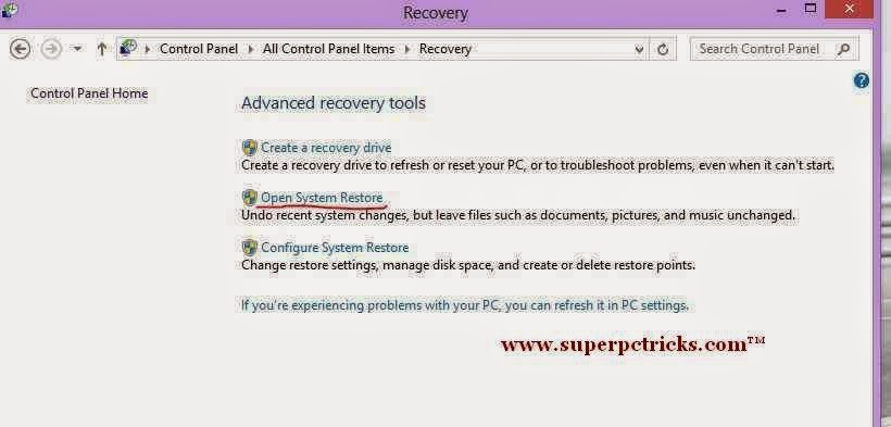 system restore in windows