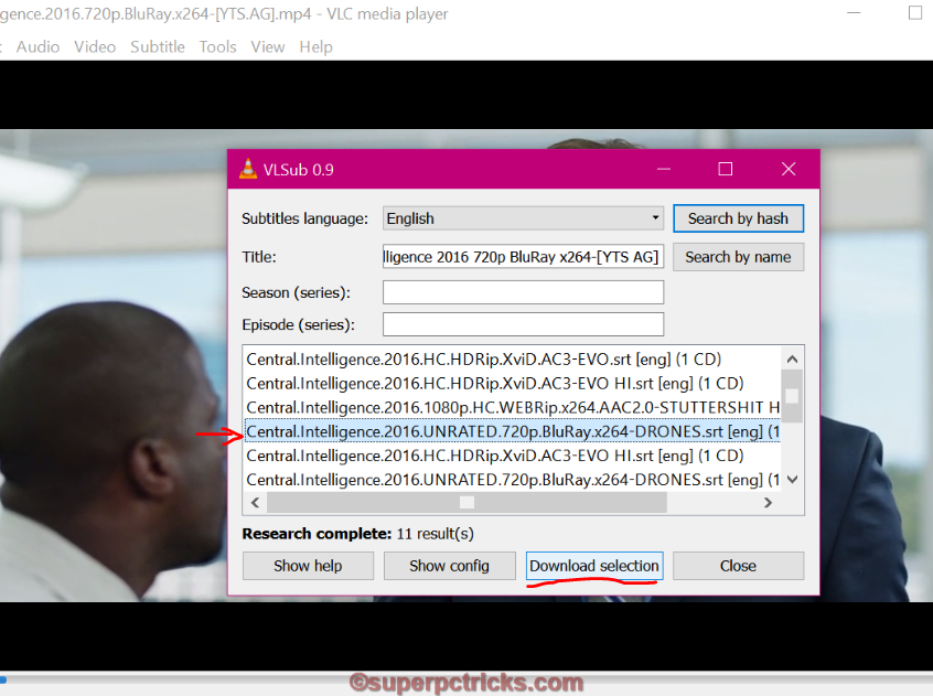 how to download the subtitle while using vlc