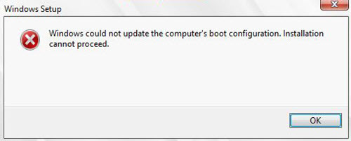 Windows could not update the computer's boot configuration [Solved